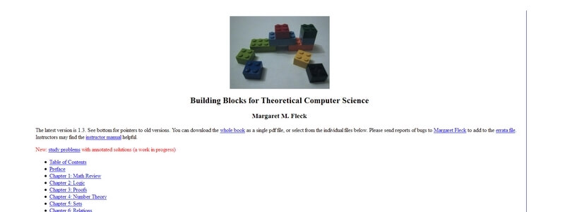Building Blocks for Theoretical Computer Science by Margaret M. Fleck